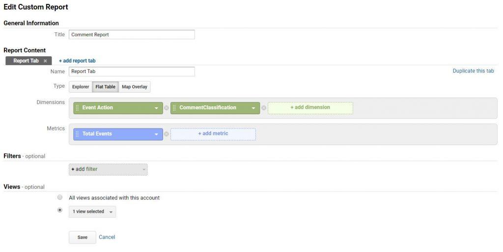 report create contentclassification googleanalytics
