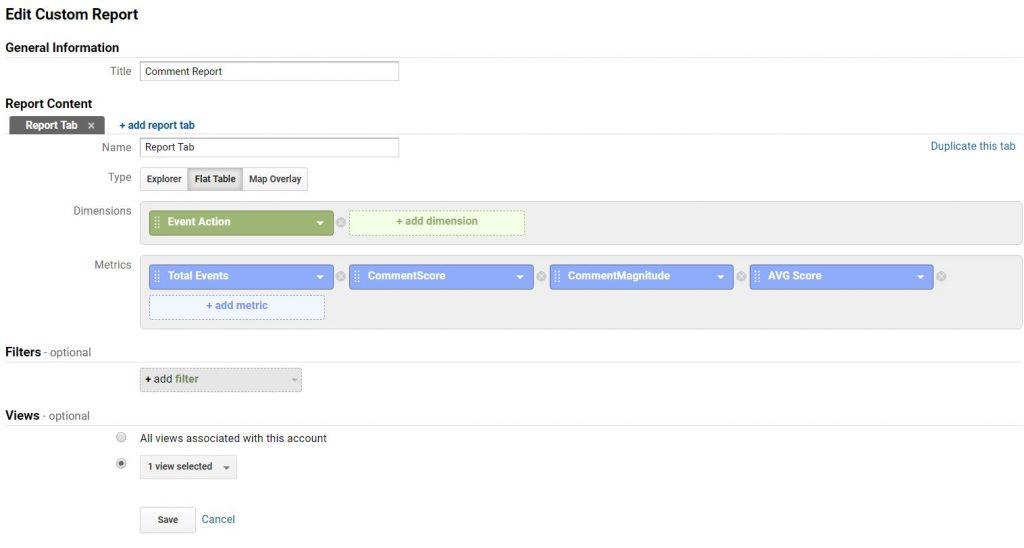 report create sentimentanalyse googleanalytics
