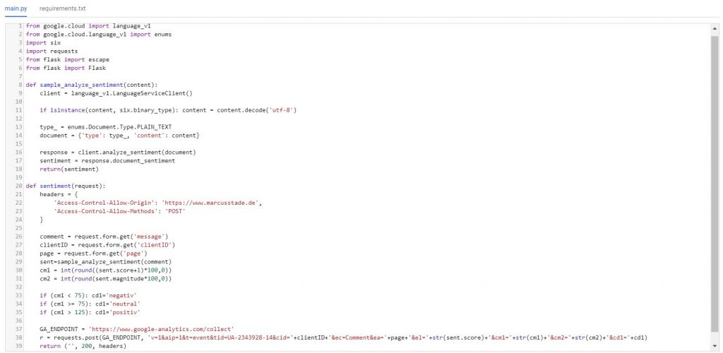 sentimentanalyse cloudfunction full
