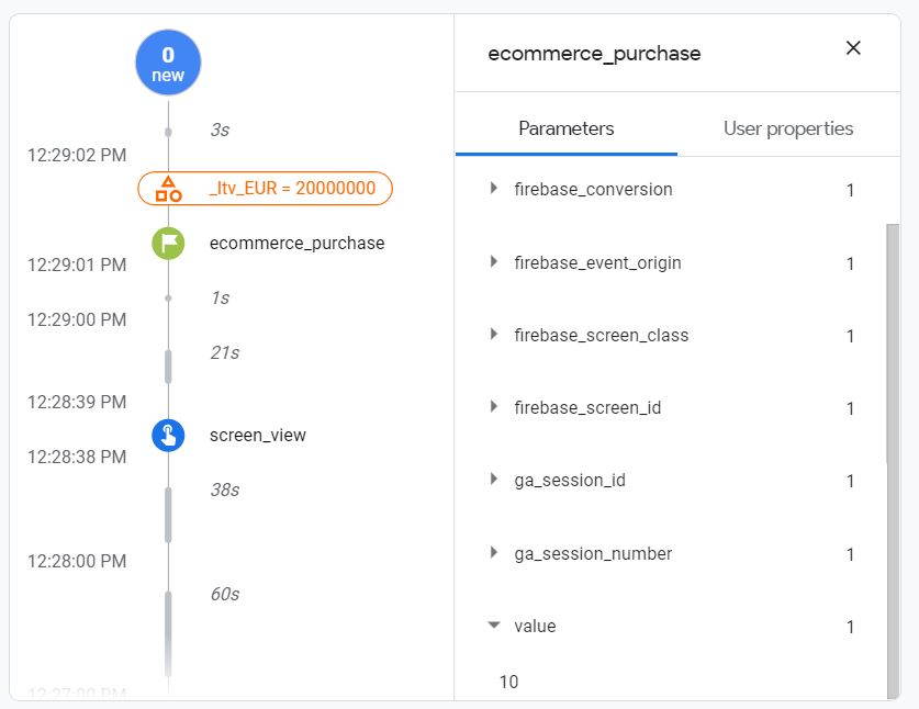 firebase-ecommerce-purchase-currrency-value